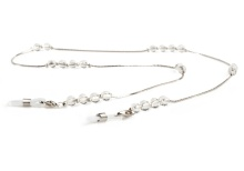 Clear bead & silver chain K065